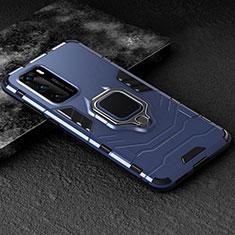 Silikon Hülle Handyhülle und Kunststoff Schutzhülle Tasche mit Magnetisch Fingerring Ständer für Huawei P40 Blau