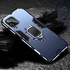 Silikon Hülle Handyhülle und Kunststoff Schutzhülle Tasche mit Magnetisch Fingerring Ständer für Huawei P40 Lite Blau