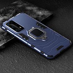 Silikon Hülle Handyhülle und Kunststoff Schutzhülle Tasche mit Magnetisch Fingerring Ständer für Huawei P40 Pro+ Plus Blau