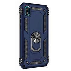 Silikon Hülle Handyhülle und Kunststoff Schutzhülle Tasche mit Magnetisch Fingerring Ständer für Huawei Y5 (2019) Blau