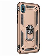 Silikon Hülle Handyhülle und Kunststoff Schutzhülle Tasche mit Magnetisch Fingerring Ständer für Huawei Y5 (2019) Gold