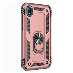 Silikon Hülle Handyhülle und Kunststoff Schutzhülle Tasche mit Magnetisch Fingerring Ständer für Huawei Y5 (2019) Rosegold