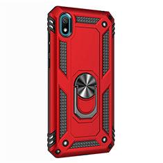 Silikon Hülle Handyhülle und Kunststoff Schutzhülle Tasche mit Magnetisch Fingerring Ständer für Huawei Y5 (2019) Rot