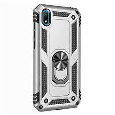 Silikon Hülle Handyhülle und Kunststoff Schutzhülle Tasche mit Magnetisch Fingerring Ständer für Huawei Y5 (2019) Silber