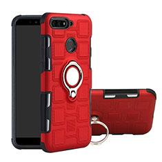 Silikon Hülle Handyhülle und Kunststoff Schutzhülle Tasche mit Magnetisch Fingerring Ständer für Huawei Y6 (2018) Rot