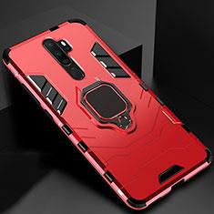 Silikon Hülle Handyhülle und Kunststoff Schutzhülle Tasche mit Magnetisch Fingerring Ständer für Oppo A9 (2020) Rot