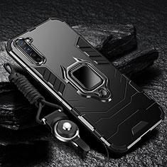 Silikon Hülle Handyhülle und Kunststoff Schutzhülle Tasche mit Magnetisch Fingerring Ständer für Oppo F15 Schwarz