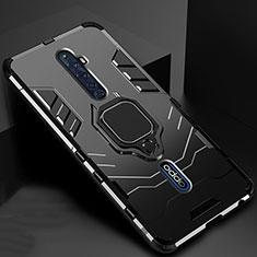 Silikon Hülle Handyhülle und Kunststoff Schutzhülle Tasche mit Magnetisch Fingerring Ständer für Oppo Reno2 Z Schwarz