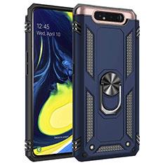 Silikon Hülle Handyhülle und Kunststoff Schutzhülle Tasche mit Magnetisch Fingerring Ständer für Samsung Galaxy A80 Blau