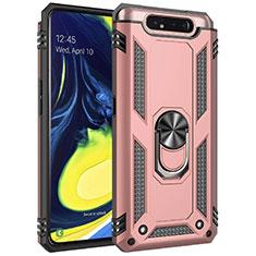 Silikon Hülle Handyhülle und Kunststoff Schutzhülle Tasche mit Magnetisch Fingerring Ständer für Samsung Galaxy A80 Rosegold