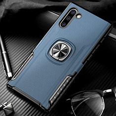 Silikon Hülle Handyhülle und Kunststoff Schutzhülle Tasche mit Magnetisch Fingerring Ständer für Samsung Galaxy Note 10 5G Blau