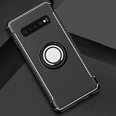 Silikon Hülle Handyhülle und Kunststoff Schutzhülle Tasche mit Magnetisch Fingerring Ständer für Samsung Galaxy S10 5G Schwarz