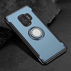 Silikon Hülle Handyhülle und Kunststoff Schutzhülle Tasche mit Magnetisch Fingerring Ständer für Samsung Galaxy S9 Blau