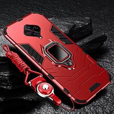 Silikon Hülle Handyhülle und Kunststoff Schutzhülle Tasche mit Magnetisch Fingerring Ständer für Vivo S1 Pro Rot