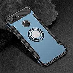 Silikon Hülle Handyhülle und Kunststoff Schutzhülle Tasche mit Magnetisch Fingerring Ständer für Xiaomi Mi 8 Lite Blau