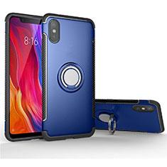 Silikon Hülle Handyhülle und Kunststoff Schutzhülle Tasche mit Magnetisch Fingerring Ständer für Xiaomi Mi 8 Pro Global Version Blau