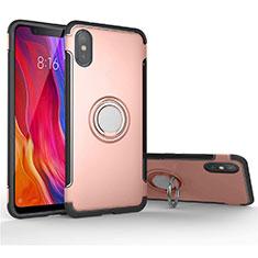 Silikon Hülle Handyhülle und Kunststoff Schutzhülle Tasche mit Magnetisch Fingerring Ständer für Xiaomi Mi 8 Pro Global Version Rosegold