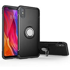 Silikon Hülle Handyhülle und Kunststoff Schutzhülle Tasche mit Magnetisch Fingerring Ständer für Xiaomi Mi 8 Pro Global Version Schwarz