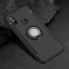 Silikon Hülle Handyhülle und Kunststoff Schutzhülle Tasche mit Magnetisch Fingerring Ständer für Xiaomi Mi 8 Schwarz