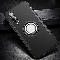 Silikon Hülle Handyhülle und Kunststoff Schutzhülle Tasche mit Magnetisch Fingerring Ständer für Xiaomi Mi 9 Lite Schwarz