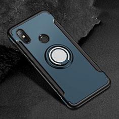 Silikon Hülle Handyhülle und Kunststoff Schutzhülle Tasche mit Magnetisch Fingerring Ständer für Xiaomi Mi A2 Lite Blau