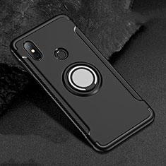 Silikon Hülle Handyhülle und Kunststoff Schutzhülle Tasche mit Magnetisch Fingerring Ständer für Xiaomi Mi A2 Lite Schwarz