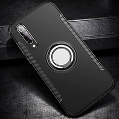 Silikon Hülle Handyhülle und Kunststoff Schutzhülle Tasche mit Magnetisch Fingerring Ständer für Xiaomi Mi A3 Lite Schwarz