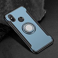 Silikon Hülle Handyhülle und Kunststoff Schutzhülle Tasche mit Magnetisch Fingerring Ständer für Xiaomi Mi Max 3 Blau