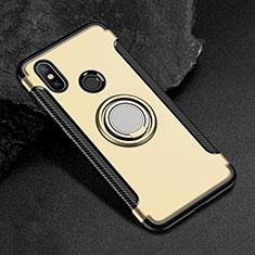 Silikon Hülle Handyhülle und Kunststoff Schutzhülle Tasche mit Magnetisch Fingerring Ständer für Xiaomi Mi Max 3 Gold