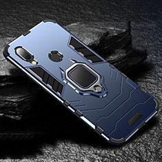 Silikon Hülle Handyhülle und Kunststoff Schutzhülle Tasche mit Magnetisch Fingerring Ständer für Xiaomi Redmi 7 Blau