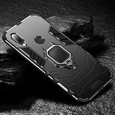 Silikon Hülle Handyhülle und Kunststoff Schutzhülle Tasche mit Magnetisch Fingerring Ständer für Xiaomi Redmi 7 Schwarz