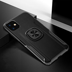 Silikon Hülle Handyhülle und Kunststoff Schutzhülle Tasche mit Magnetisch Fingerring Ständer R01 für Apple iPhone 11 Schwarz
