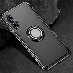 Silikon Hülle Handyhülle und Kunststoff Schutzhülle Tasche mit Magnetisch Fingerring Ständer R01 für Huawei Honor 20 Schwarz