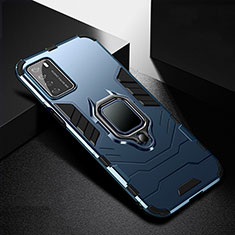 Silikon Hülle Handyhülle und Kunststoff Schutzhülle Tasche mit Magnetisch Fingerring Ständer R01 für Huawei Honor Play4 5G Blau