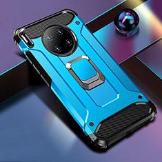 Silikon Hülle Handyhülle und Kunststoff Schutzhülle Tasche mit Magnetisch Fingerring Ständer R01 für Huawei Mate 30 5G Blau
