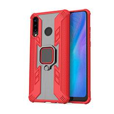 Silikon Hülle Handyhülle und Kunststoff Schutzhülle Tasche mit Magnetisch Fingerring Ständer R01 für Huawei Nova 4e Rot