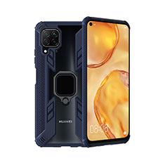 Silikon Hülle Handyhülle und Kunststoff Schutzhülle Tasche mit Magnetisch Fingerring Ständer R01 für Huawei Nova 6 SE Blau