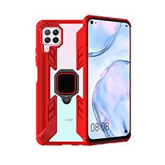 Silikon Hülle Handyhülle und Kunststoff Schutzhülle Tasche mit Magnetisch Fingerring Ständer R01 für Huawei Nova 7i Rot