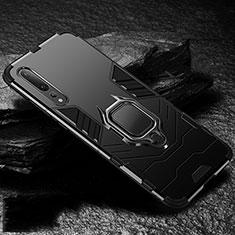 Silikon Hülle Handyhülle und Kunststoff Schutzhülle Tasche mit Magnetisch Fingerring Ständer R01 für Huawei P20 Pro Schwarz