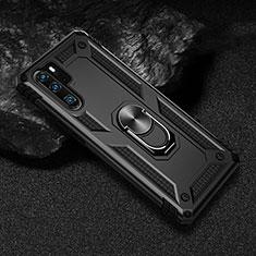 Silikon Hülle Handyhülle und Kunststoff Schutzhülle Tasche mit Magnetisch Fingerring Ständer R01 für Huawei P30 Pro Schwarz