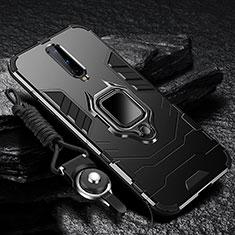 Silikon Hülle Handyhülle und Kunststoff Schutzhülle Tasche mit Magnetisch Fingerring Ständer R01 für OnePlus 8 Schwarz