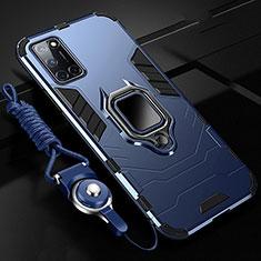 Silikon Hülle Handyhülle und Kunststoff Schutzhülle Tasche mit Magnetisch Fingerring Ständer R01 für Oppo A92 Blau