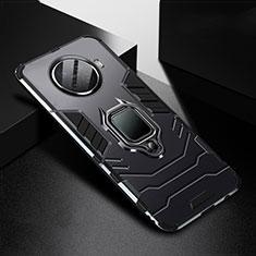 Silikon Hülle Handyhülle und Kunststoff Schutzhülle Tasche mit Magnetisch Fingerring Ständer R01 für Oppo Ace2 Schwarz
