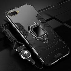 Silikon Hülle Handyhülle und Kunststoff Schutzhülle Tasche mit Magnetisch Fingerring Ständer R01 für Oppo R15X Schwarz