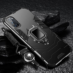 Silikon Hülle Handyhülle und Kunststoff Schutzhülle Tasche mit Magnetisch Fingerring Ständer R01 für Oppo Reno4 5G Schwarz