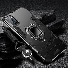 Silikon Hülle Handyhülle und Kunststoff Schutzhülle Tasche mit Magnetisch Fingerring Ständer R01 für Oppo Reno4 Pro 5G Schwarz