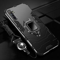 Silikon Hülle Handyhülle und Kunststoff Schutzhülle Tasche mit Magnetisch Fingerring Ständer R01 für Realme X50 Pro 5G Schwarz
