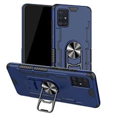 Silikon Hülle Handyhülle und Kunststoff Schutzhülle Tasche mit Magnetisch Fingerring Ständer R01 für Samsung Galaxy A51 5G Blau