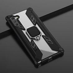 Silikon Hülle Handyhülle und Kunststoff Schutzhülle Tasche mit Magnetisch Fingerring Ständer R01 für Samsung Galaxy Note 10 5G Schwarz