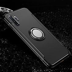 Silikon Hülle Handyhülle und Kunststoff Schutzhülle Tasche mit Magnetisch Fingerring Ständer R01 für Samsung Galaxy Note 10 Plus 5G Schwarz
